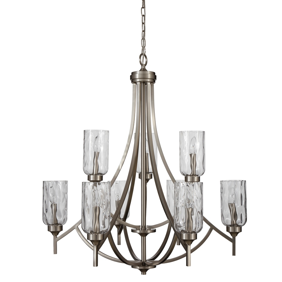 Shop allen roth latchbury 3224 in 9 light brushed nickel allen roth latchbury 3224 in 9 light brushed nickel craftsman textured glass tiered arubaitofo Images