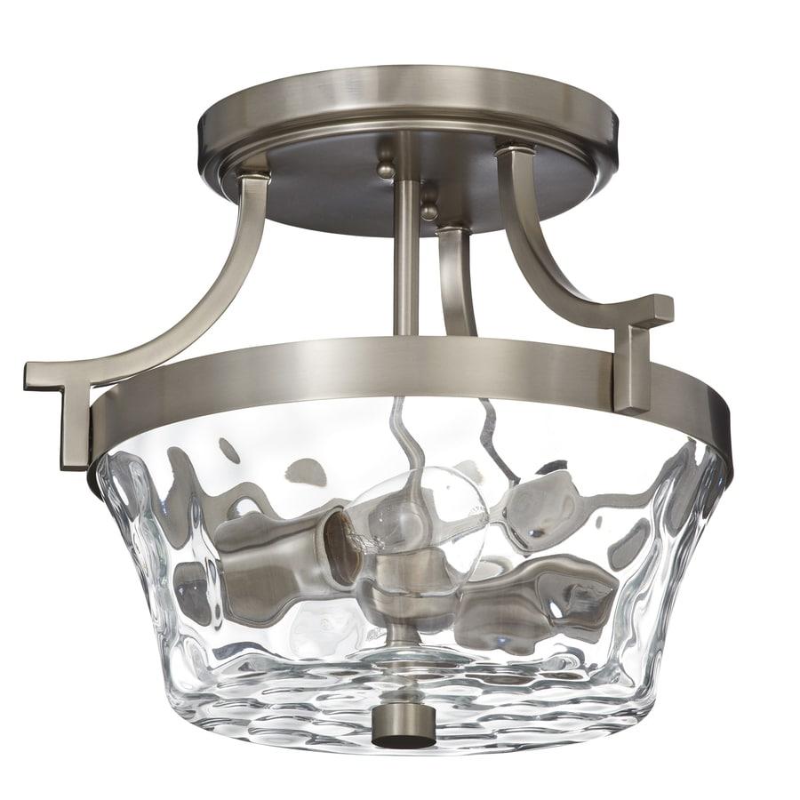 allen + roth Latchbury 14.33-in W Brushed nickel Textured Semi-Flush Mount Light