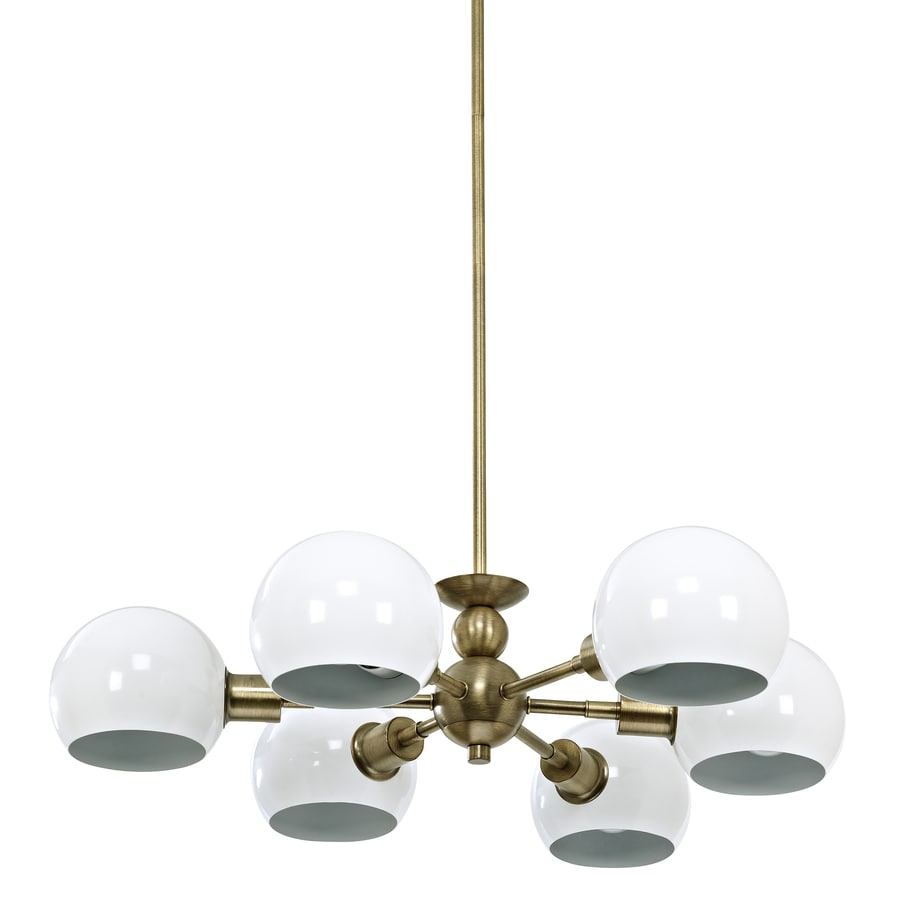 allen + roth Dystra 28.68-in 6-Light Soft Gold Abstract Chandelier