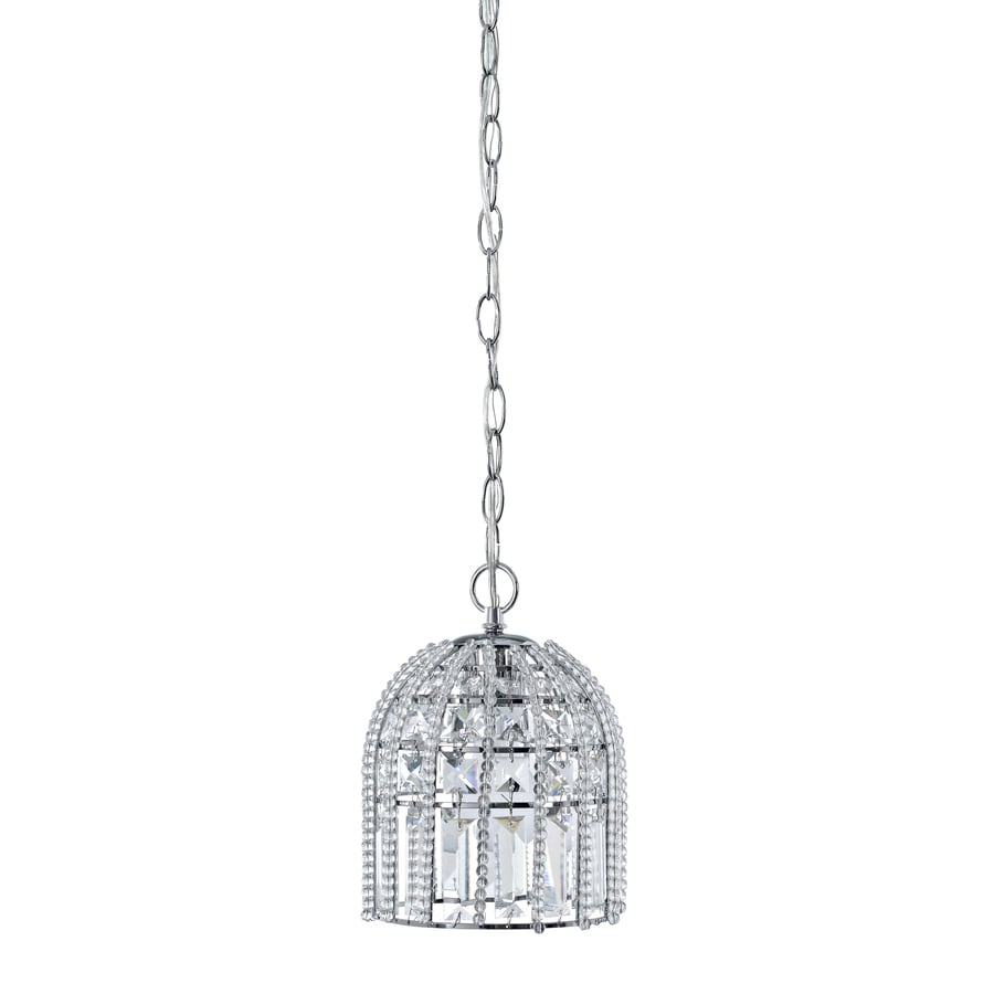allen + roth Kavanah 6.25-in Chrome Crystal Mini Crystal Bell Pendant