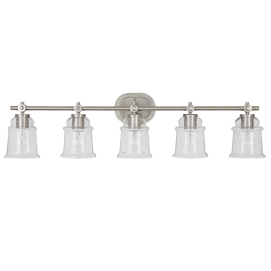 Shop allen + roth Winsbrell 5-Light 9.25-in Brushed nickel Bell Vanity Light at Lowes.com