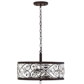 allen + roth Sequina Aged Bronze Single French Country/Cottage Clear Glass Drum Pendant Light
