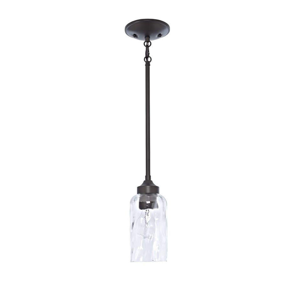 Shop pendant lighting at lowes allen roth latchbury 394 in aged bronze country cottage mini textured glass cylinder pendant aloadofball Gallery