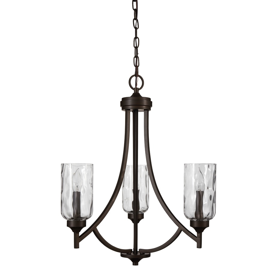 Shop chandeliers at lowes allen roth latchbury 2194 in 3 light aged bronze craftsman textured glass shaded aloadofball Choice Image