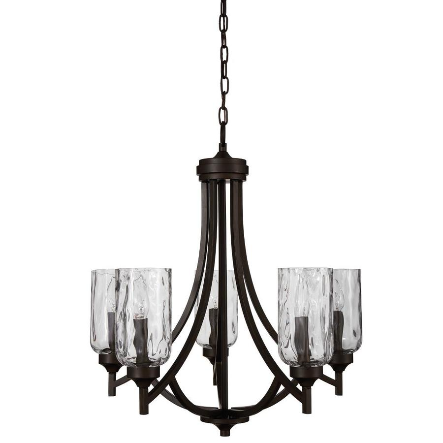 Shop chandeliers at lowes allen roth latchbury 2373 in 5 light aged bronze craftsman textured glass shaded aloadofball Gallery