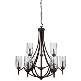 Shop chandeliers at lowes allen roth latchbury 3224 in 9 light aged bronze craftsman textured glass tiered aloadofball Choice Image