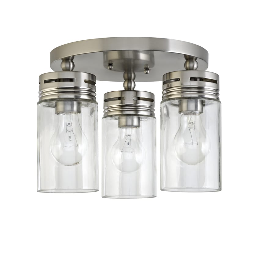 Farmhouse Kitchen Light Fixtures Lowes: Allen + Roth Vallymede 12-in Brushed Nickel Farmhouse