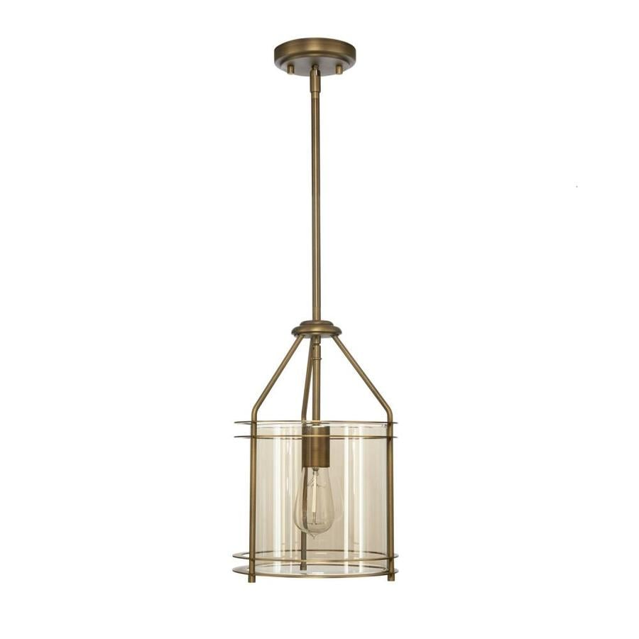 allen + roth 9.06-in Soft gold Craftsman Hardwired Mini Tinted Glass Cylinder Standard Pendant