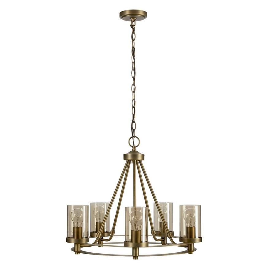 Shop allen + roth 22.99-in 5-Light Soft gold Craftsman
