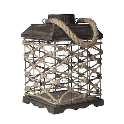 7 87 In X 12 2 Light Oak Metal Solar Outdoor Decorative Lantern