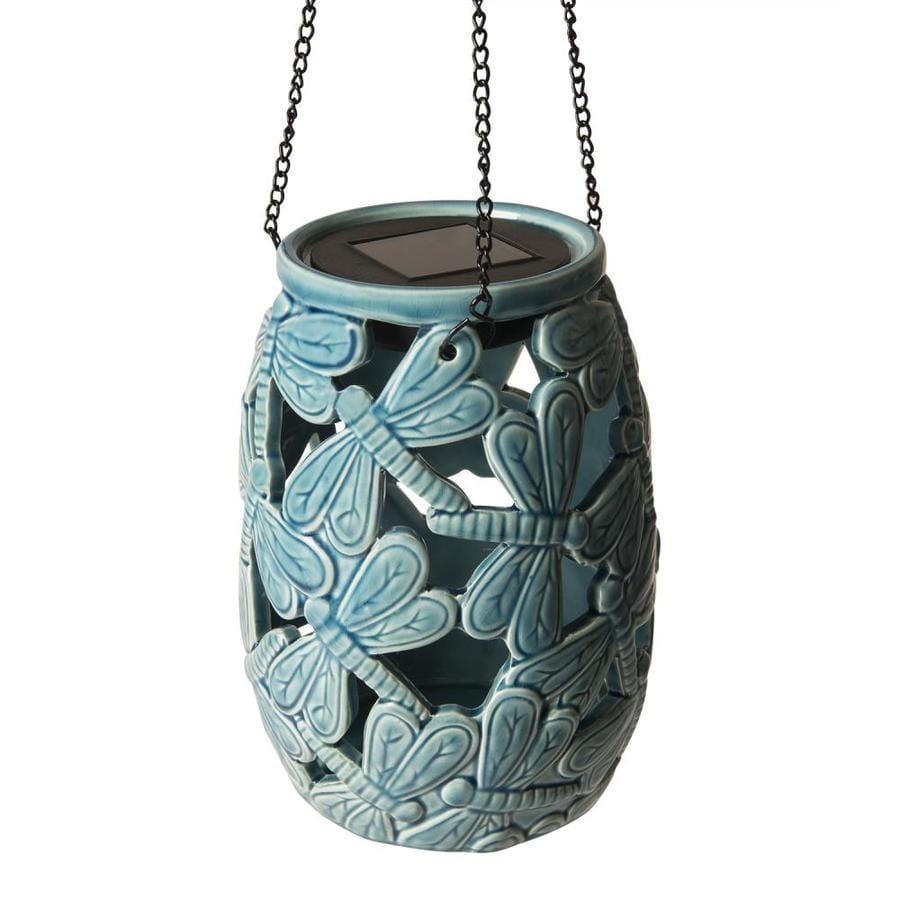 Portfolio 5 51 In X 7 48 Blue Ceramic Solar Outdoor Decorative Lantern