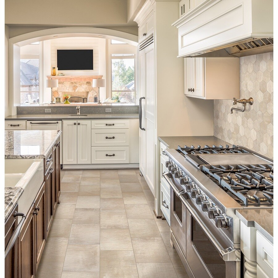 Kitchen Tiles At Lowes shop style selections cityside beige honeycomb mosaic porcelain