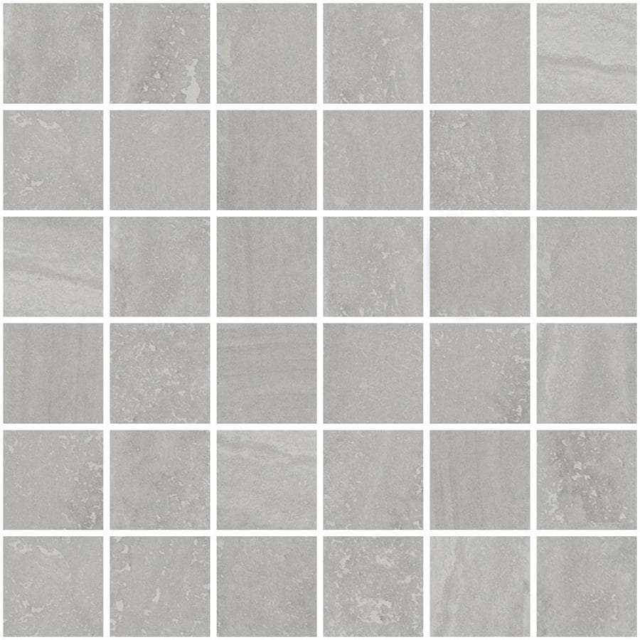 Style Selections Ridgemont Silver Uniform Squares Mosaic Porcelain Floor and Wall Tile (Common: 12-in x 12-in; Actual: 11.73-in x 11.73-in)