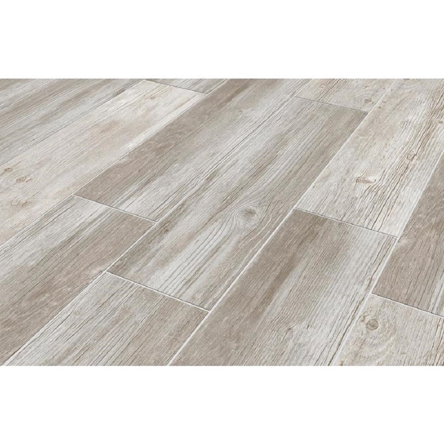 Shop tile at lowes style selections woods vintage gray wood look porcelain floor and wall tile common 6 dailygadgetfo Image collections