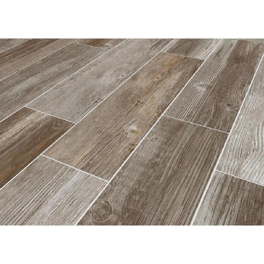 Shop style selections woods french gray wood look for Grey brown floor tiles