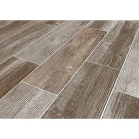 Style Selections Woods French Gray 6-in x 24-in Glazed Porcelain Wood Look Tile