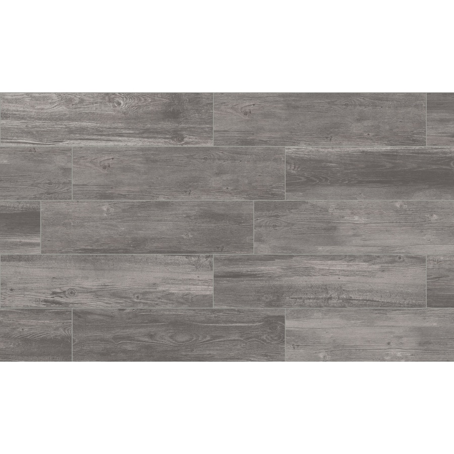 Style Selections Woods Graphite 6-in X 24-in Porcelain