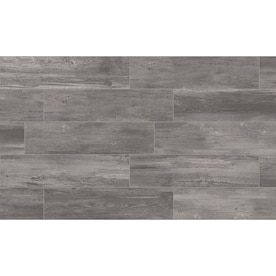 Style Selections Woods Graphite 6-in x 24-in Glazed Porcelain Wood Look Tile