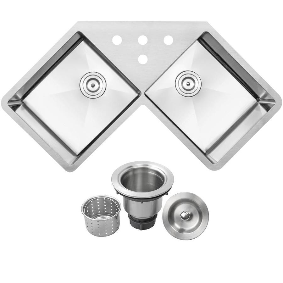 Ticor 44 25 In X 23 5 In Brushed Stainless Steel Double