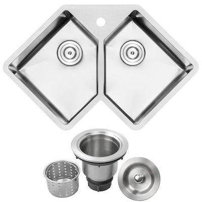 Ticor Undermount 33 In X 21 25 In Brushed Stainless Steel Double Equal Bowl 1 Hole Corner Install Kitchen Sink In The Kitchen Sinks Department At Lowes Com