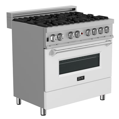 Dual Fuel Colored Range Deep Recessed-Burner Convection (White Matte)  (Common: 36-in; Actual: 36-in)