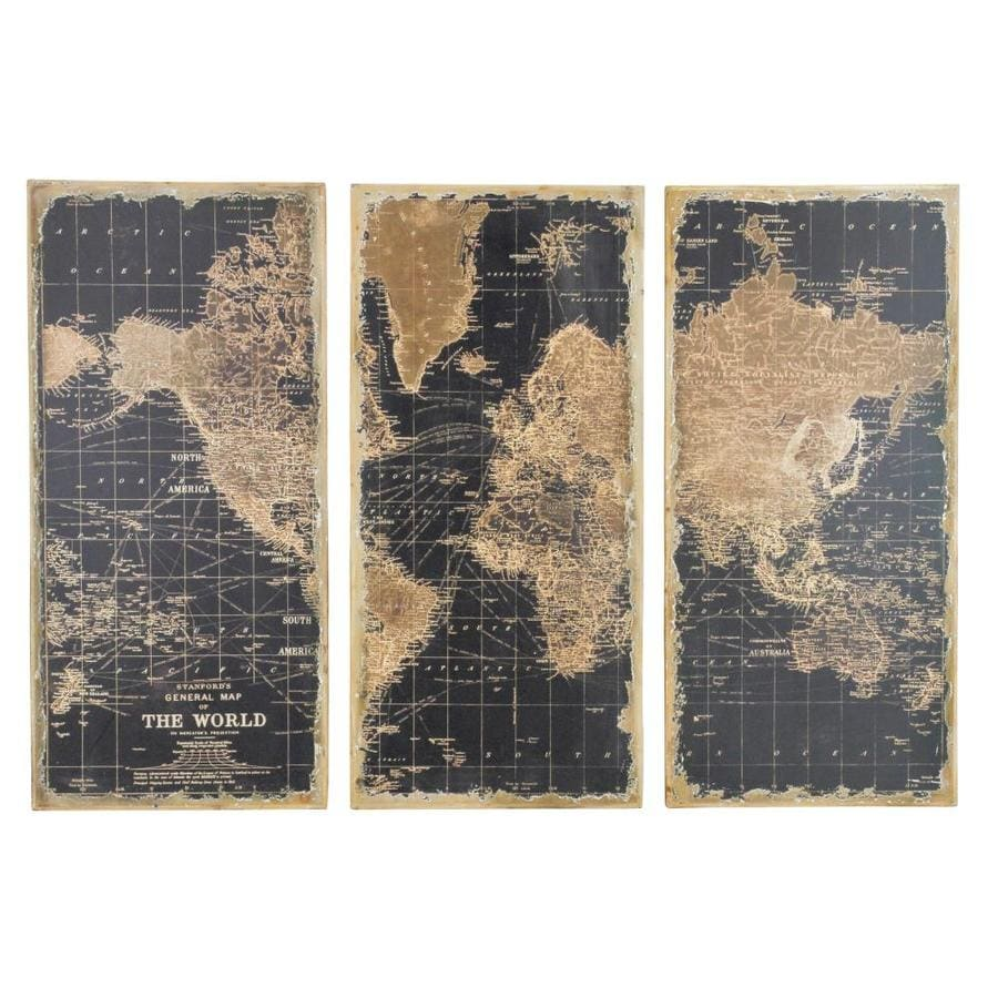 Aspire Home Accents 3-Piece Framed World Map Wood Wall Panel at ...