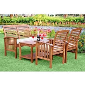 Walker Edison Fremont 4 Piece Acacia Frame Patio Conversation Set With Cushions