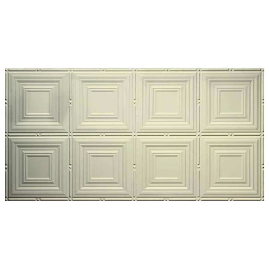 Dimensions (Common: 48-in X 24-in; Actual: 48.5-in x 24.5-in) Creme Faux Tin Surface-mount Acoustic Panel Ceiling Tiles