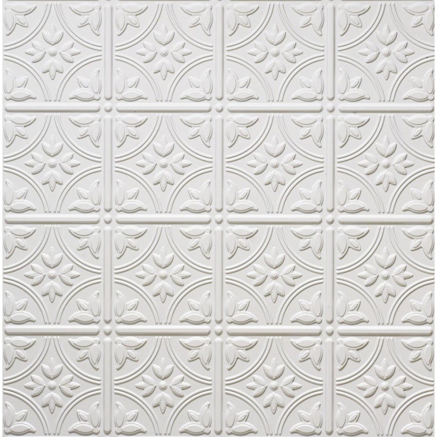 Shop dimensions matte white faux tin 1516 in drop acoustic dimensions matte white faux tin 1516 in drop acoustic ceiling tiles common dailygadgetfo Gallery