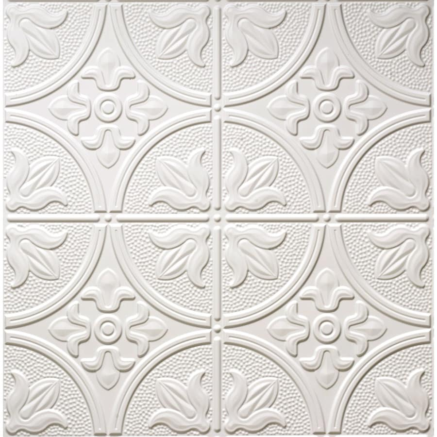 Dimensions Matte White Faux Tin 15/16-in Drop Acoustic Ceiling Tiles (Common: 24-in x 24-in; Actual: 23.75-in x 23.75-in)