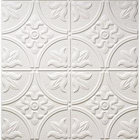 dimensions matte white faux tin 1516in drop acoustic ceiling tiles common