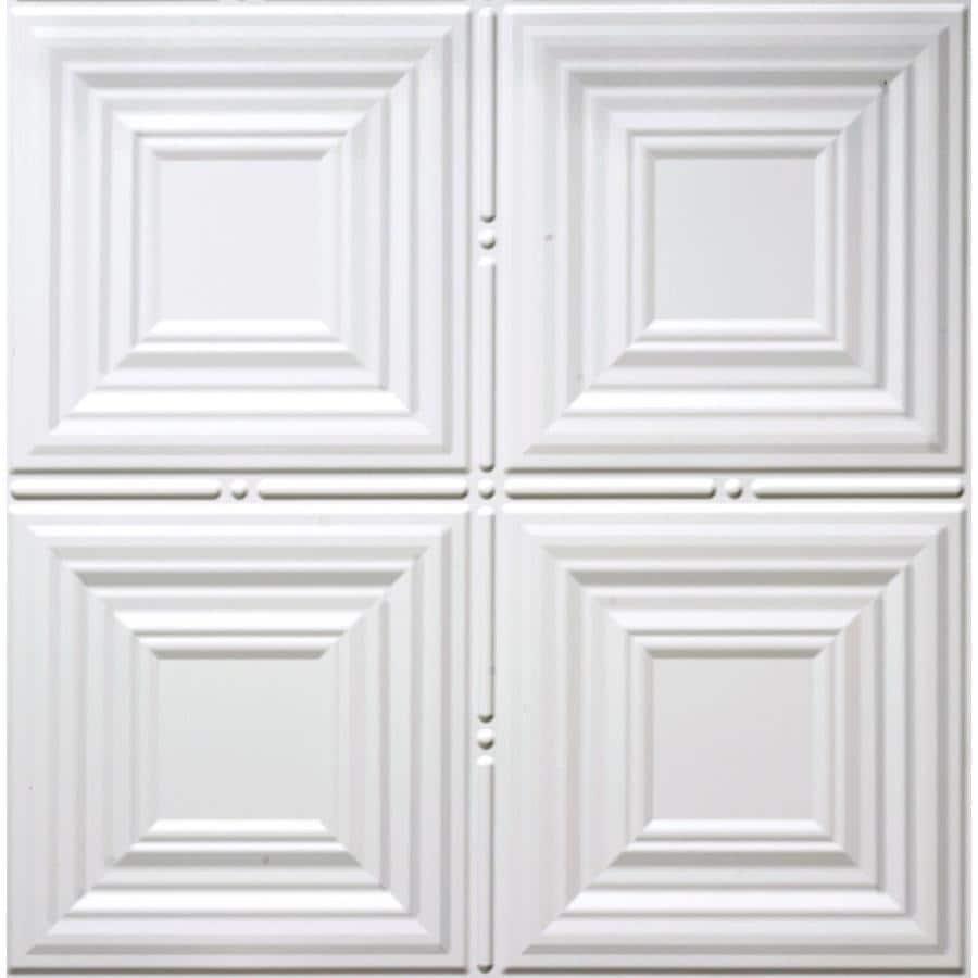 Shop dimensions matte white faux tin 1516 in drop acoustic dimensions matte white faux tin 1516 in drop acoustic ceiling tiles common dailygadgetfo Images