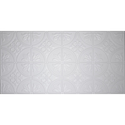 Common 48 In X 24 Actual 5 White Metal Tin Surface Mount Ceiling Tiles