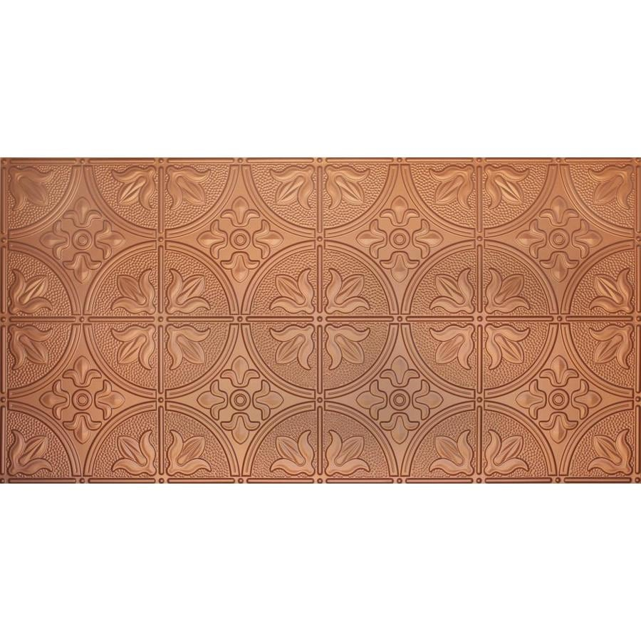 Shop Dimensions Copper Faux Tin Surface-Mount Ceiling Tiles (Common: 48-in x 24-in; Actual: 48.5 ...