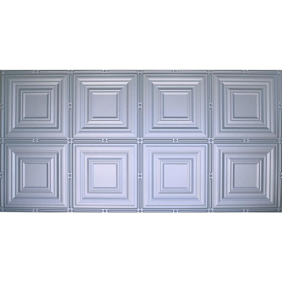 Shop Dimensions Nickel Faux Tin Surface Mount Ceiling Tiles Common