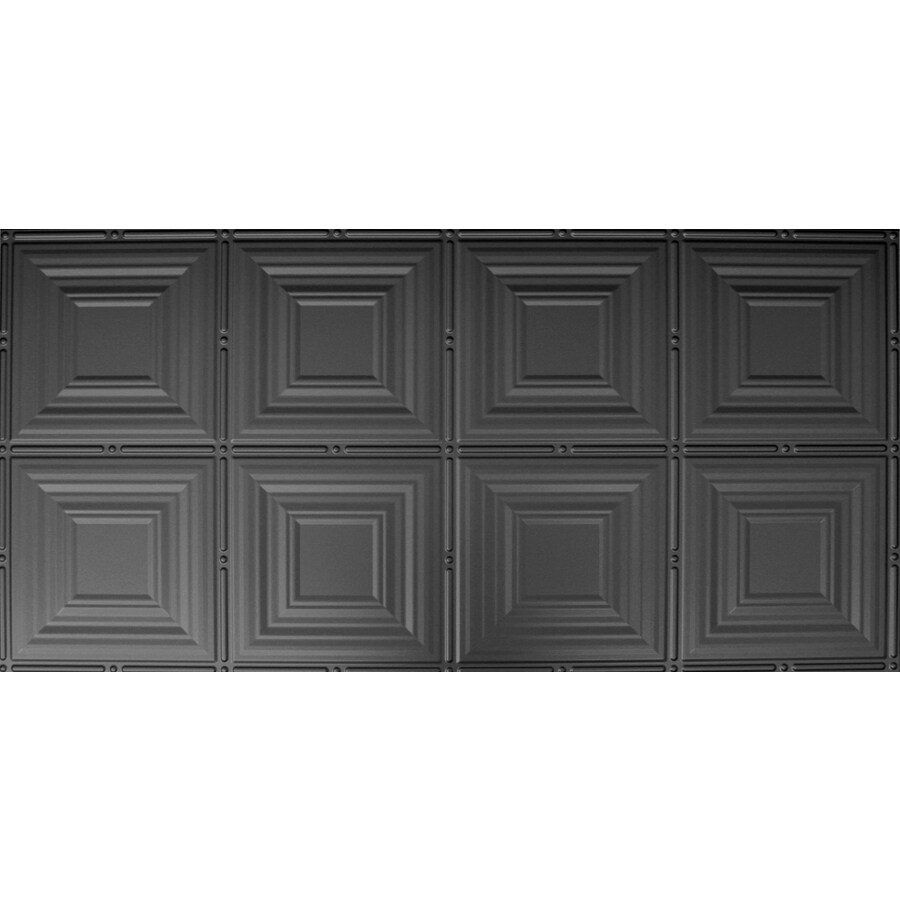 Dimensions Matte Black Faux Tin Surface-Mount Acoustic Ceiling Tiles (Common: 48-in x 24-in; Actual: 48.5-in x 24.5-in)