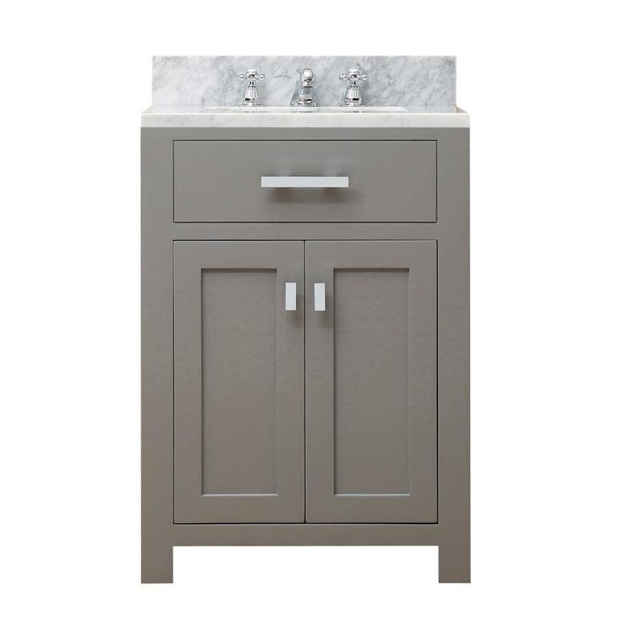 Water Creation Madison Cashmere Grey Single Sink Vanity With Carrara White Natural Marble Top Common