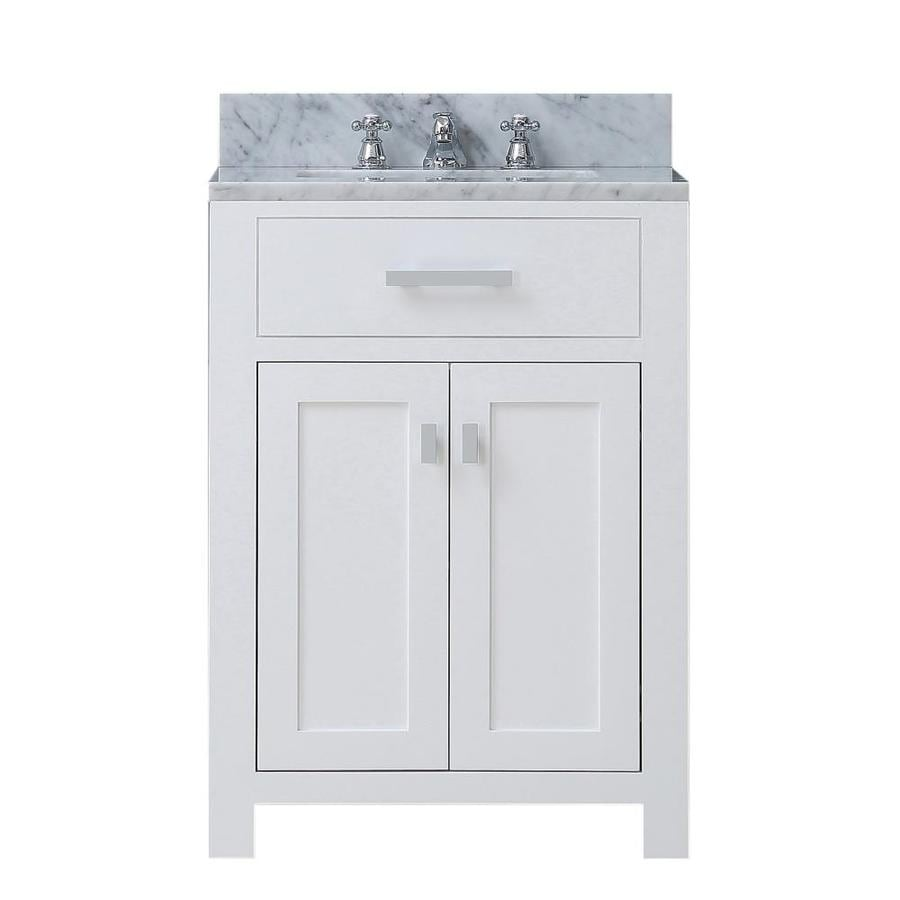 Water Creation Madison 24 In Pure White Single Sink Bathroom Vanity With Carrara White Natural Marble Top In The Bathroom Vanities With Tops Department At Lowes Com