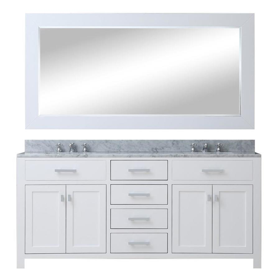 Water Creation Madison 60 In Pure White Undermount Double Sink Bathroom Vanity With Carrara White Natural Marble Top Mirror Included In The Bathroom Vanities With Tops Department At Lowes Com