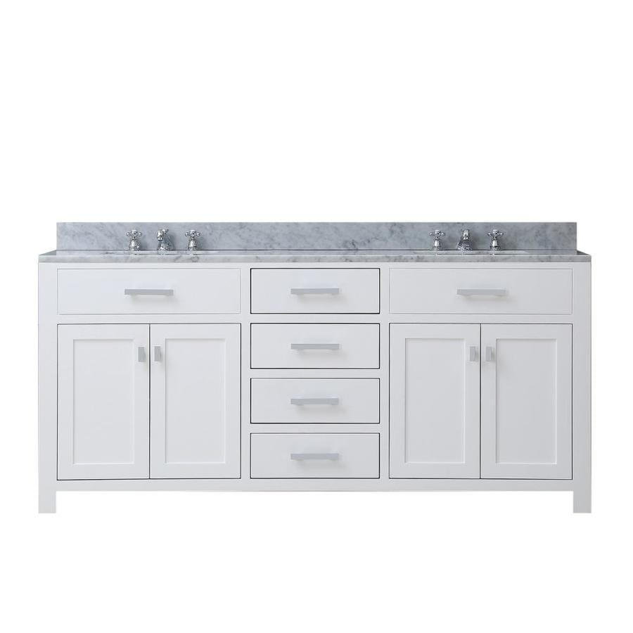 Water Creation Madison Pure White Double Sink Vanity With Carrara Natural Marble Top Common