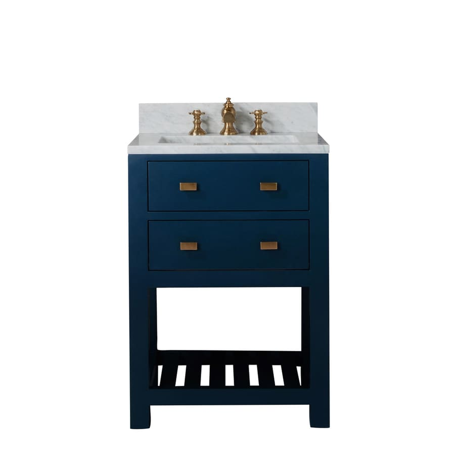 Water Creation Madalyn 24 In Monarch Blue Single Sink Bathroom Vanity With Carrara White Natural Marble Top In The Bathroom Vanities With Tops Department At Lowes Com