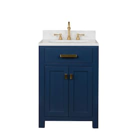 Design Element Cara 24 In Blue Single Sink Bathroom Vanity With White Porcelain Top In The Bathroom Vanities With Tops Department At Lowes Com