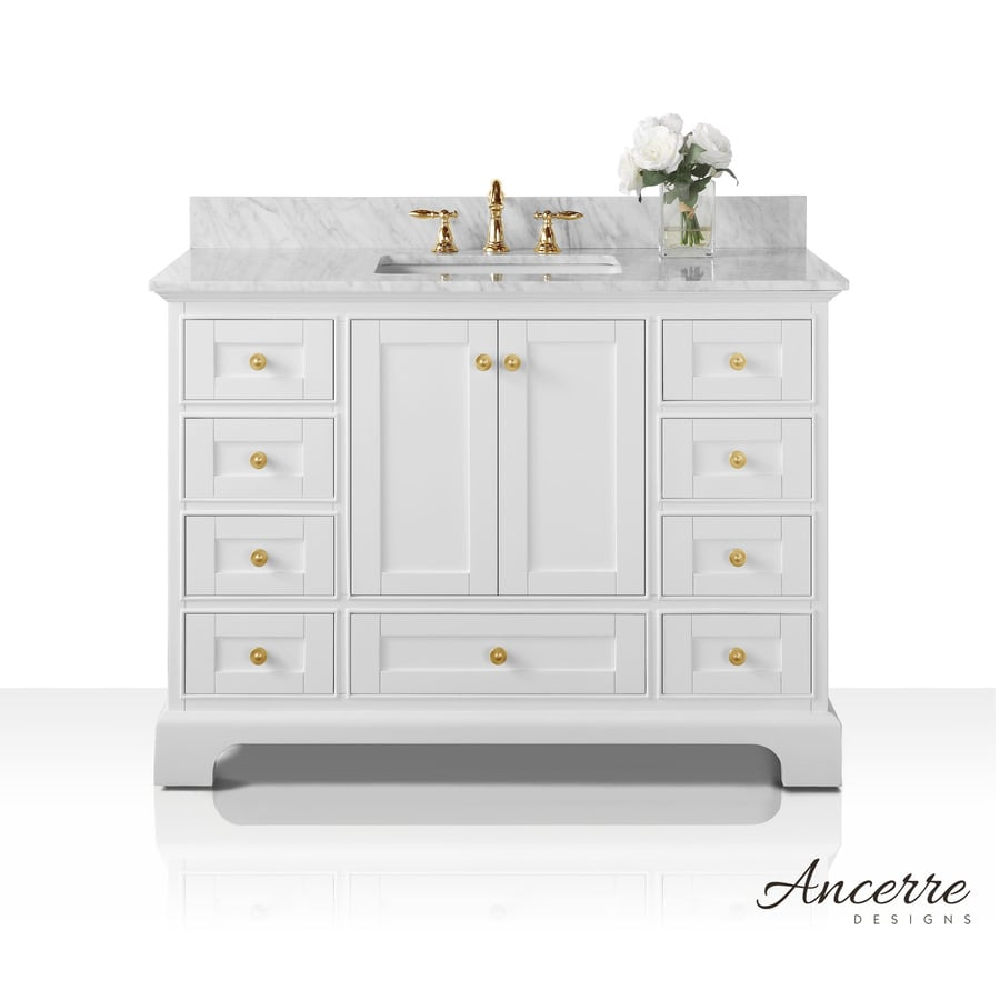 ancerre designs audrey 48 in white double sink bathroom vanity with carrara white natural marble. Black Bedroom Furniture Sets. Home Design Ideas