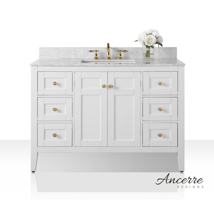 ancerre designs maili 48 in white double sink bathroom vanity with carrara white vitreous china. Black Bedroom Furniture Sets. Home Design Ideas