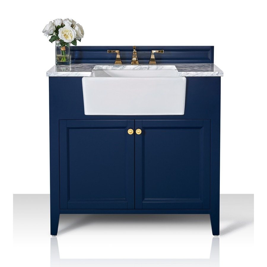 Ancerre Designs Adeline 36 In Heritage Blue Farmhouse Single Sink Bathroom Vanity With Carrara White Natural Marble Top In The Bathroom Vanities With Tops Department At Lowes Com