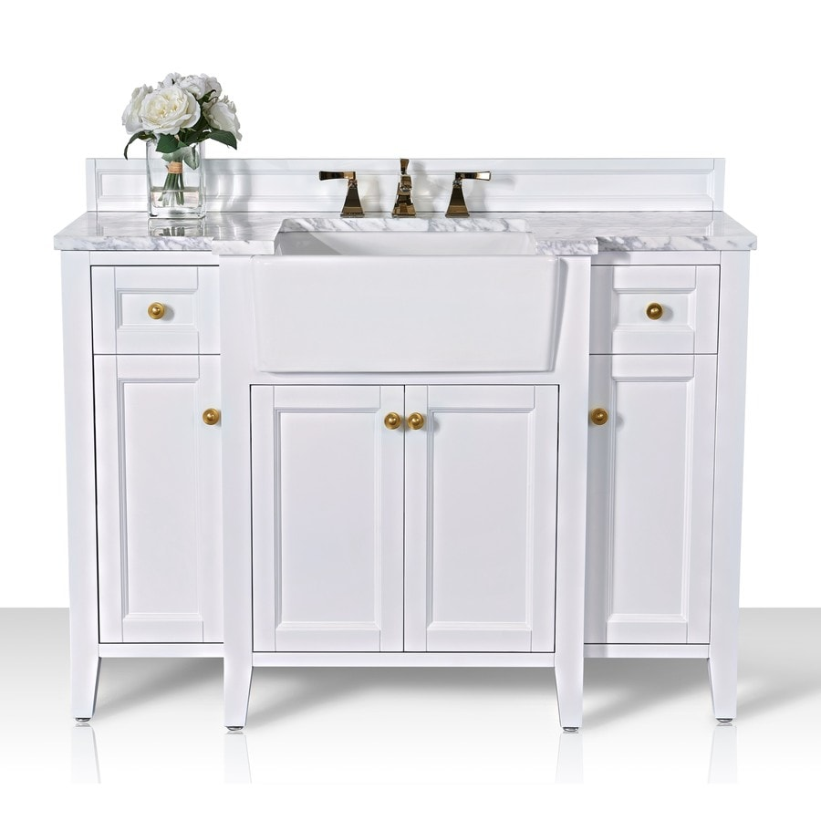 Ancerre Designs Adeline 48 In White Farmhouse Single Sink Bathroom Vanity With Carrara White Natural Marble Top In The Bathroom Vanities With Tops Department At Lowes Com