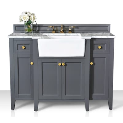 Ancerre Designs Adeline 48 In Sapphire Gray Farmhouse Single Sink Bathroom Vanity With Carrara White Natural Marble Top In The Bathroom Vanities With Tops Department At Lowes Com