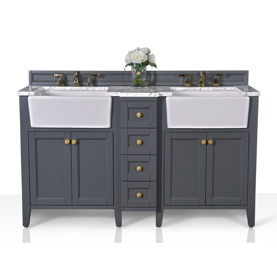 Ancerre Designs Adeline 60 In Sapphire Gray Farmhouse Double Sink Bathroom Vanity With Carrara Marble Natural Marble Top In The Bathroom Vanities With Tops Department At Lowes Com