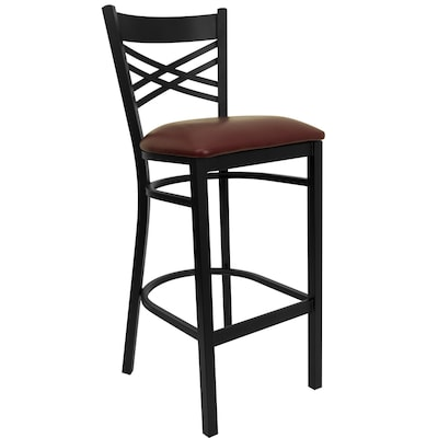 Cool Burgundy Vinyl Seat Black Metal Frame Bar Stool Squirreltailoven Fun Painted Chair Ideas Images Squirreltailovenorg