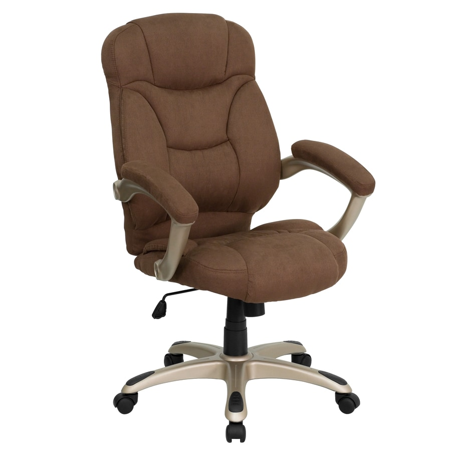 Flash Furniture Brown Microfiber Contemporary Adjustable Height Swivel Desk Chair In The Office Chairs Department At Lowes Com